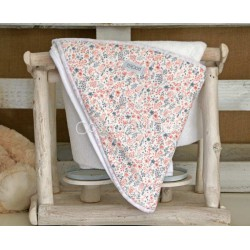 PINK FLOWER BABY HOODED TOWEL