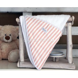 PINK STRIPES BABY HOODED TOWEL