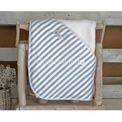 BLUE STRIPES BABY HOODED TOWEL