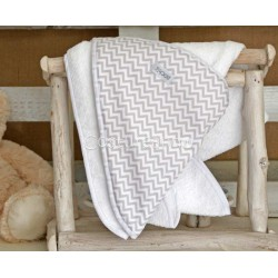 GREY ZIG ZAG BABY HOODED TOWEL