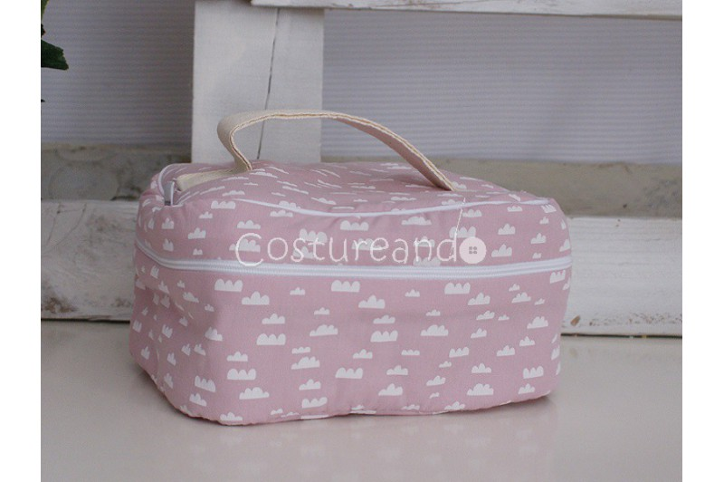 PINK FLOWER WASH BAG WITH HANDLE