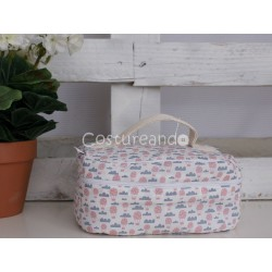 GREY BIRDS WASH BAG WITH HANDLE