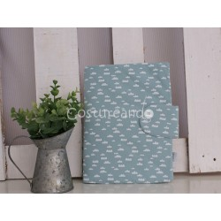 GREEN DOTS LINEN DOCUMENT HOLDER