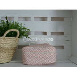 PINK WHITE STARS  WASH BAG WITH HANDLE