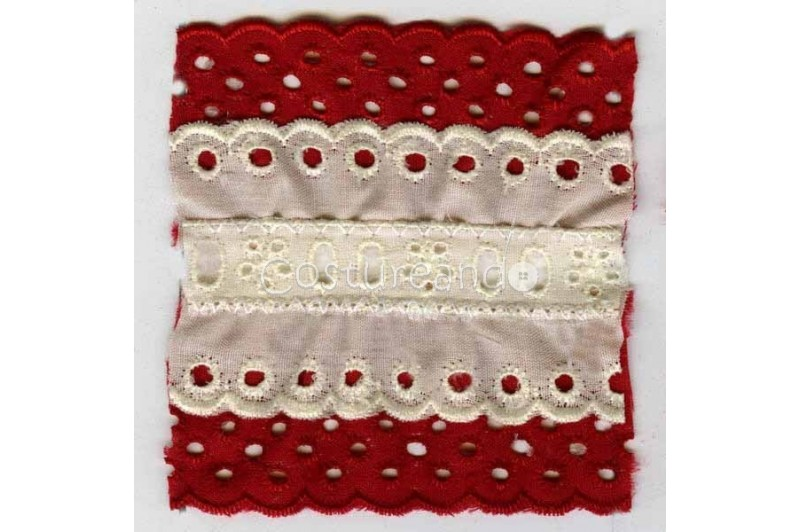 COLOURED EYELET EMBRODERY INSERTION 003