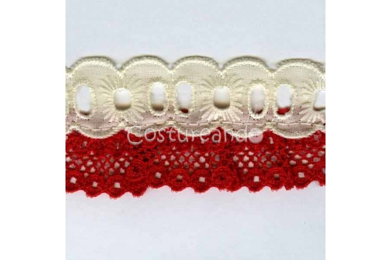COLOURED RUFFLED EYELET EMBRODERY LACE 008