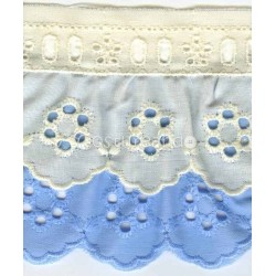 COLOURED RUFFLED EYELET EMBRODERY LACE 015