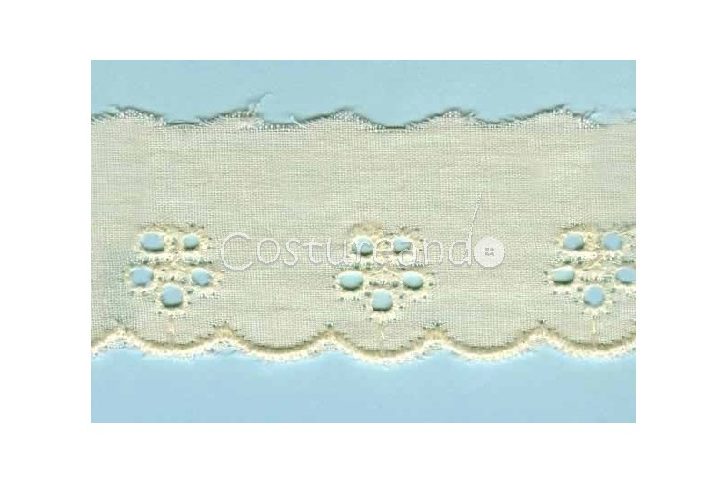 LIGHT CREAM / WHITE  EYELET EMBRODERY  LACE 016