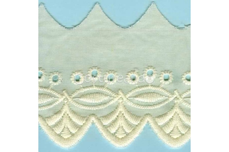 LIGHT CREAM / WHITE  EYELET EMBRODERY  LACE 019