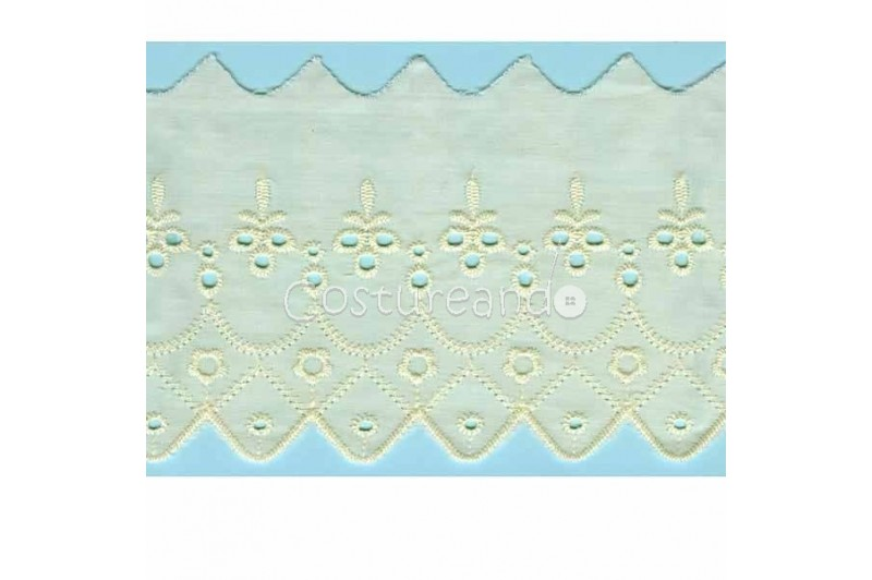 LIGHT CREAM / WHITE  EYELET EMBRODERY  LACE 022