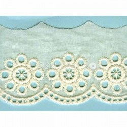 LIGHT CREAM / WHITE  EYELET EMBRODERY  LACE 030