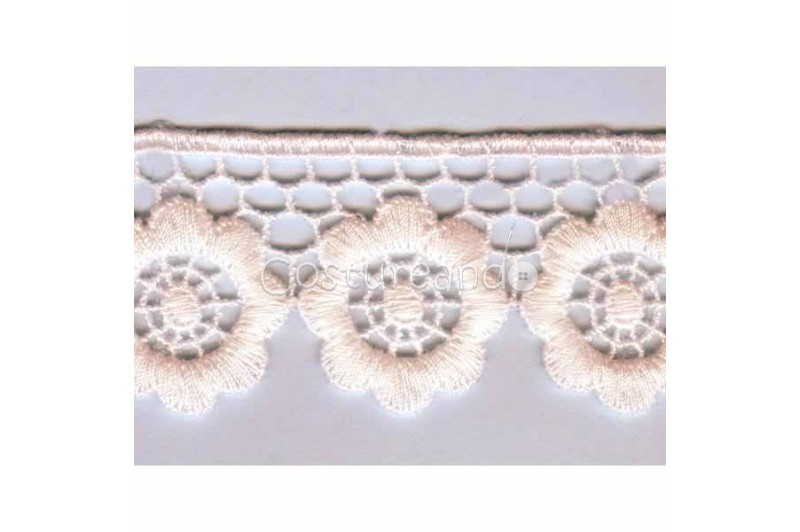 LIGHT CREAM / WHITE  EYELET EMBRODERY  LACE 048