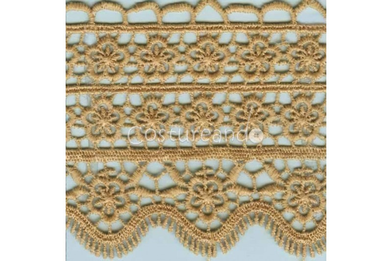 LIGHT CREAM / WHITE  EYELET EMBRODERY  LACE 054