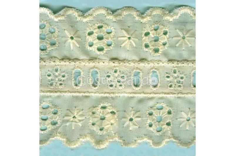 LIGHT CREAM / WHITE EYELET EMBRODERY INSERTION 009