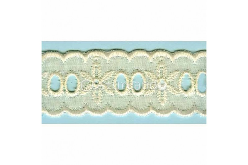 LIGHT CREAM / WHITE EYELET EMBRODERY INSERTION 013