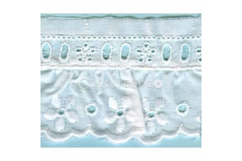 LIGHT CREAM / WHITE  RUFFLED EYELET EMBRODERY LACE 001
