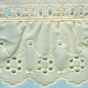 LIGHT CREAM / WHITE  RUFFLED EYELET EMBRODERY LACE 002