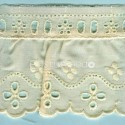LIGHT CREAM / WHITE  RUFFLED EYELET EMBRODERY LACE 013