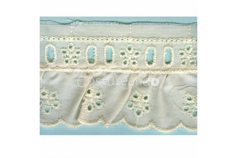 LIGHT CREAM / WHITE  RUFFLED EYELET EMBRODERY LACE 015