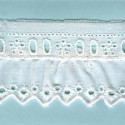 LIGHT CREAM / WHITE  RUFFLED EYELET EMBRODERY LACE 017
