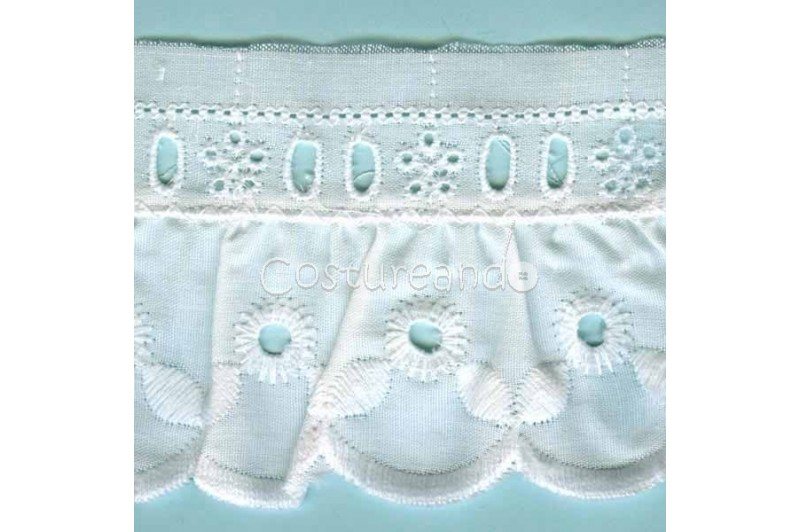 LIGHT CREAM / WHITE  RUFFLED EYELET EMBRODERY LACE 023