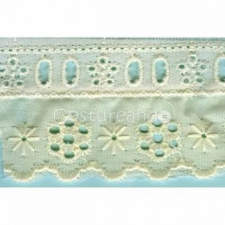 LIGHT CREAM / WHITE  RUFFLED EYELET EMBRODERY LACE 029