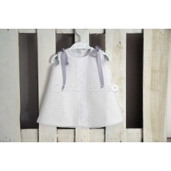 LONG BABY DRESS WHITE STRIPES