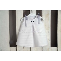 LONG BABY DRESS WHITE STRIPES WITH BUTTONS