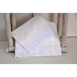 EYELET   SHEETS SET WITH RIBBON