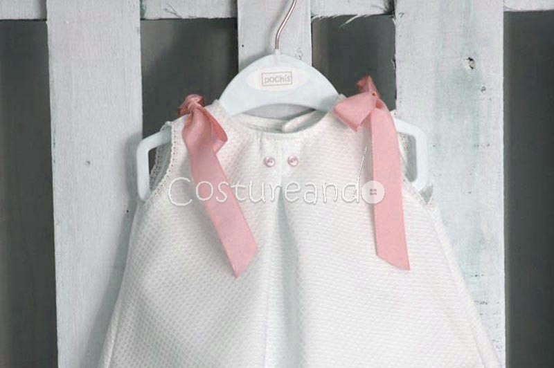 LONG BABY DRESS IN WHITE PIQUÉ WITH BUTTONS