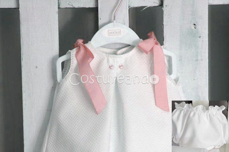 BABY DRESS SET WHITE STRIPES WITH BUTTONS