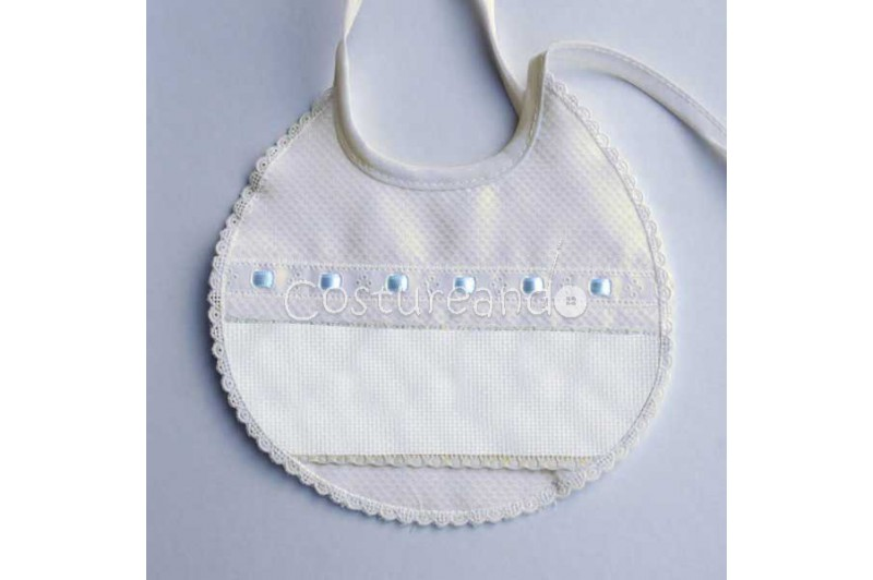 PIQUE BABY BIB WITH PANAMA WEAVE AND EMBROIDERY LACE