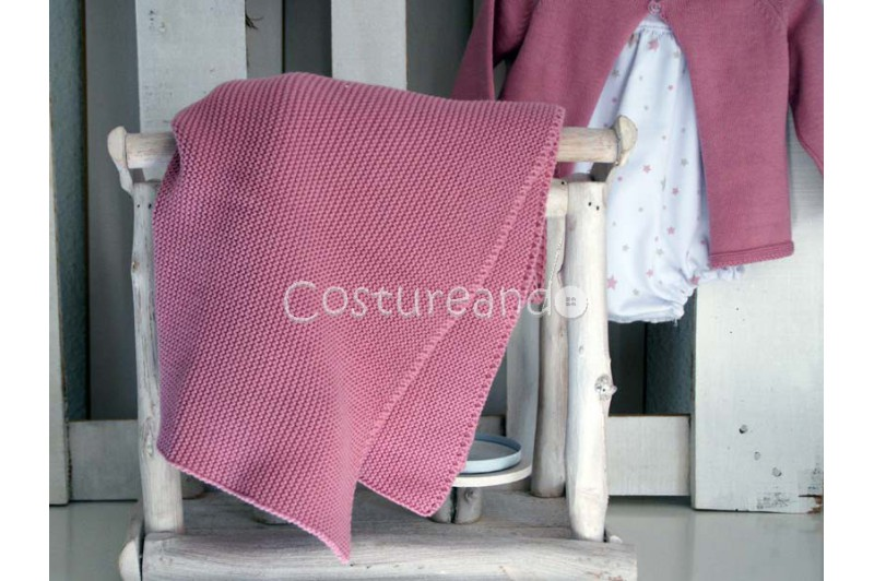 PINK COTTON KNITTED SHAWL