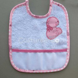 TERRY BABY BIB WITH PANAMA WEAVE BABY MOTIF