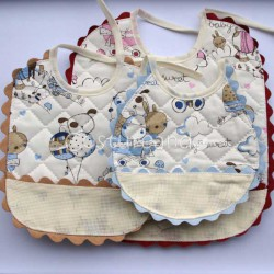 PADDED FABRIC SET  BABY BIBS  WITH PANAMA RIC RAC EDGED