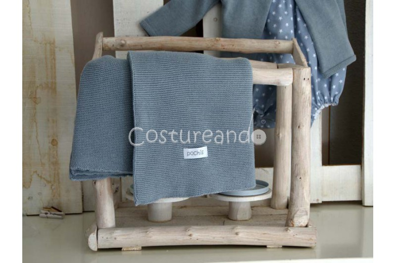 GREY COTTON KNITTED  SHAWL