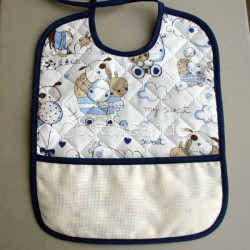 PADDED FABRIC BABY BIB WHITH  PANAMA WEAVE BABY MOTIF