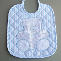 PADDED FABRIC BABY BIB WHITH BEAR PANAMA WEAVE