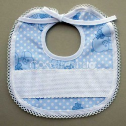 PRINTED BEARS  BABY BIB WITH PANAMA PICOT EDGED