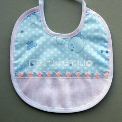 PRINTED BEARS  BABY BIB WITH PANAMA EMBROIDERY LACE EDGED