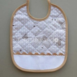 PADDED FABRIC BEARS BABY BIB WITH PANAMA RIC RAC EDGED