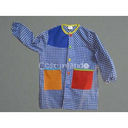 BABY SMOCK APRON WITH TWO-COLOURED POCKETS