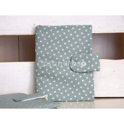 GREEN  LINEN WHITE STARS DOCUMENT HOLDER