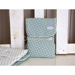 GREEN  LINEN WHITE STARS  NAPPY BAG